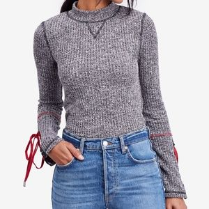 Free People Gray Mock Neck Mountaineer Cuff Top